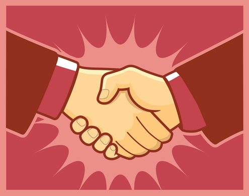 bus handshake clip art